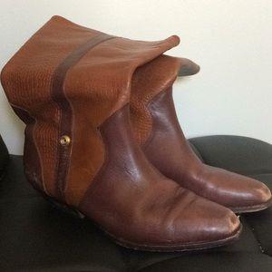 Boots - reddish brown.